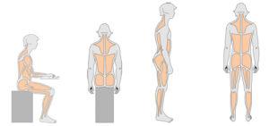Tekeningen van persoon in zij- en achteraanzicht met ontspannen spieren.